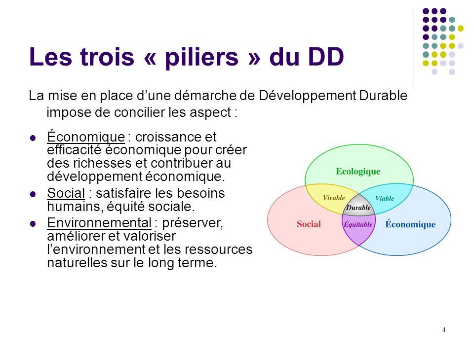 Les trois « piliers » du DD