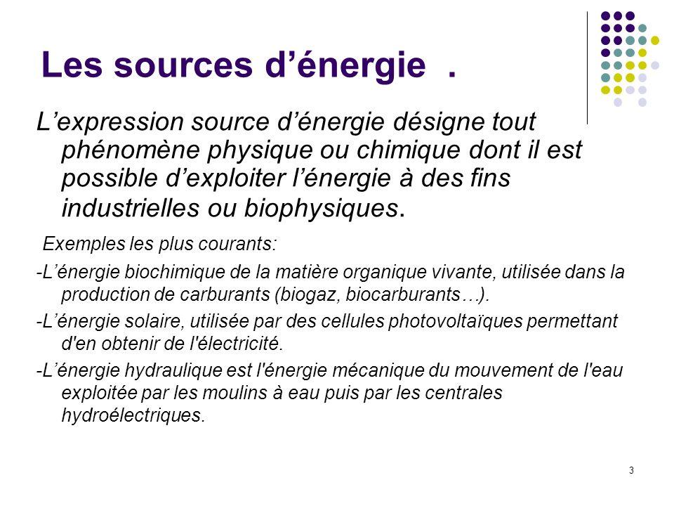 Les sources d'énergie .