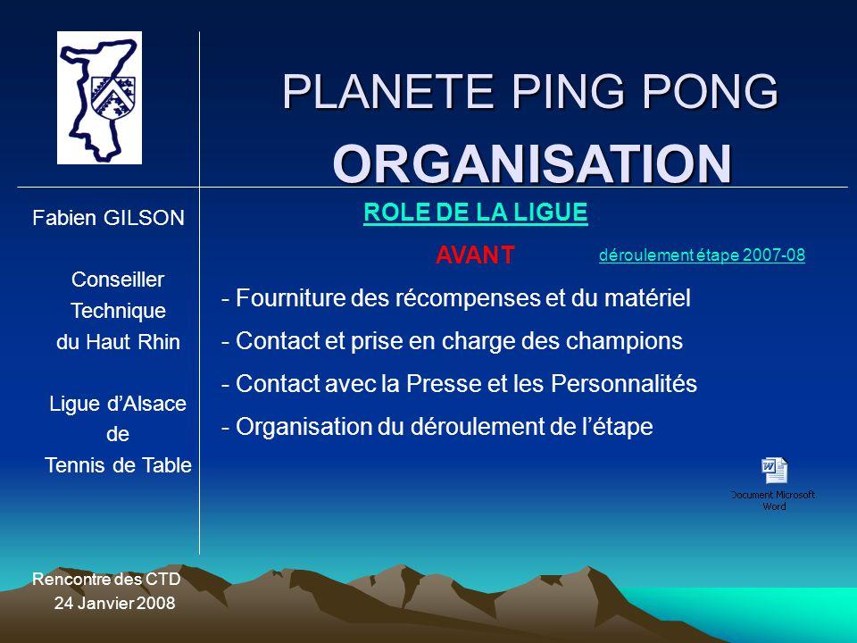ORGANISATION PLANETE PING PONG ROLE DE LA LIGUE AVANT