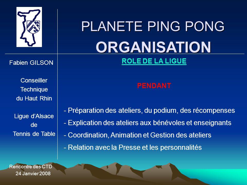 ORGANISATION PLANETE PING PONG ROLE DE LA LIGUE PENDANT