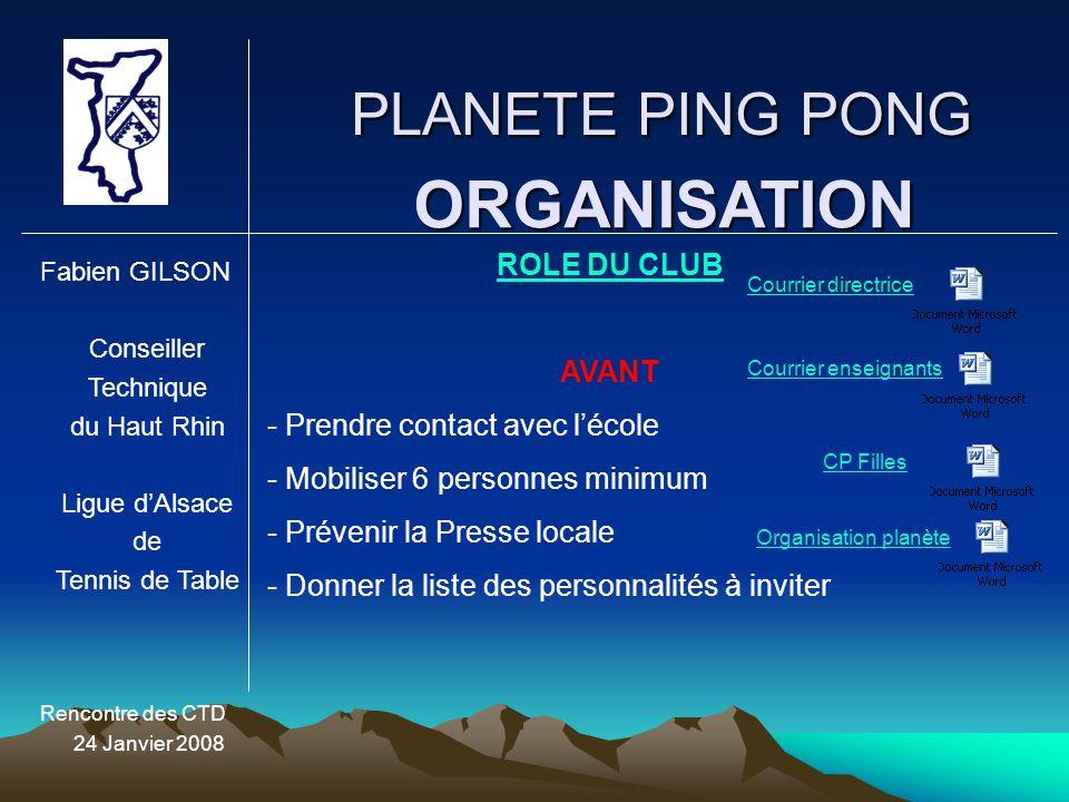 ORGANISATION PLANETE PING PONG ROLE DU CLUB AVANT