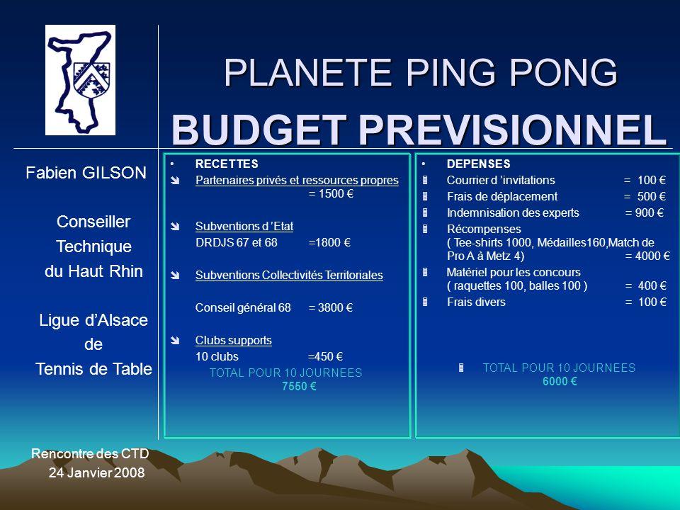 BUDGET PREVISIONNEL PLANETE PING PONG Fabien GILSON Conseiller