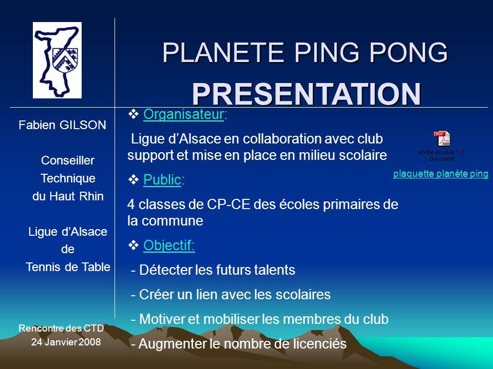 PRESENTATION PLANETE PING PONG Organisateur: