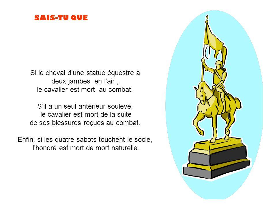 Si le cheval d'une statue équestre a deux jambes en l'air ,