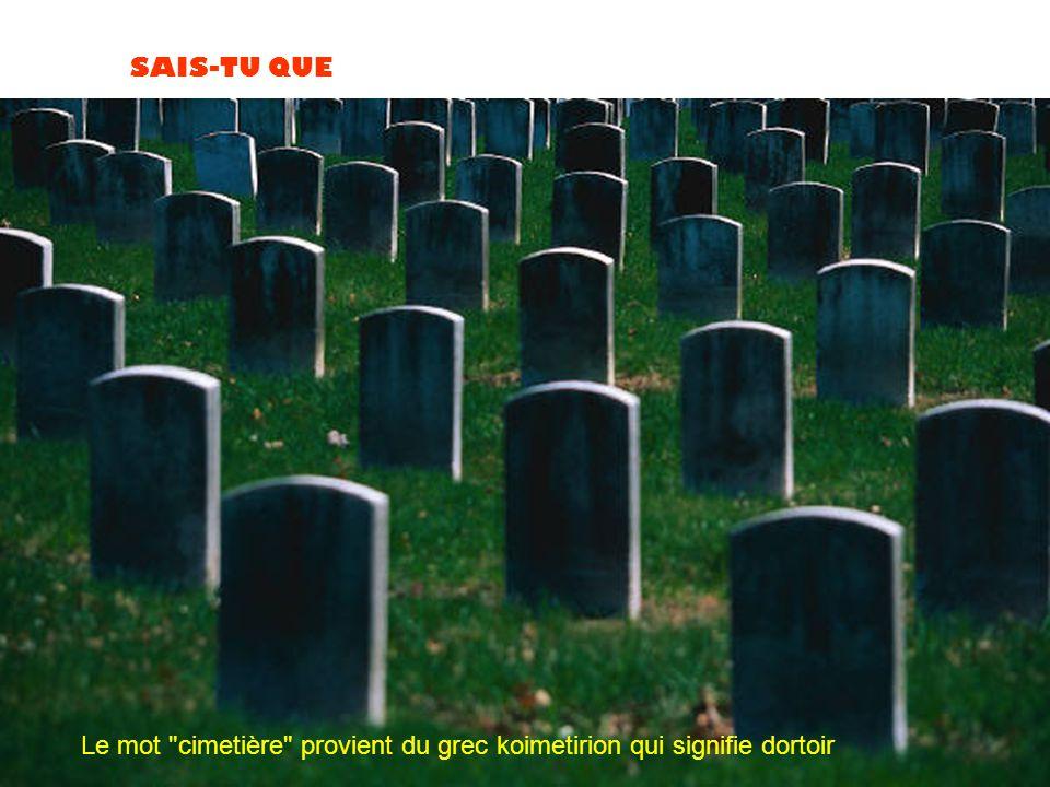 Le mot cimetière provient du grec koimetirion qui signifie dortoir
