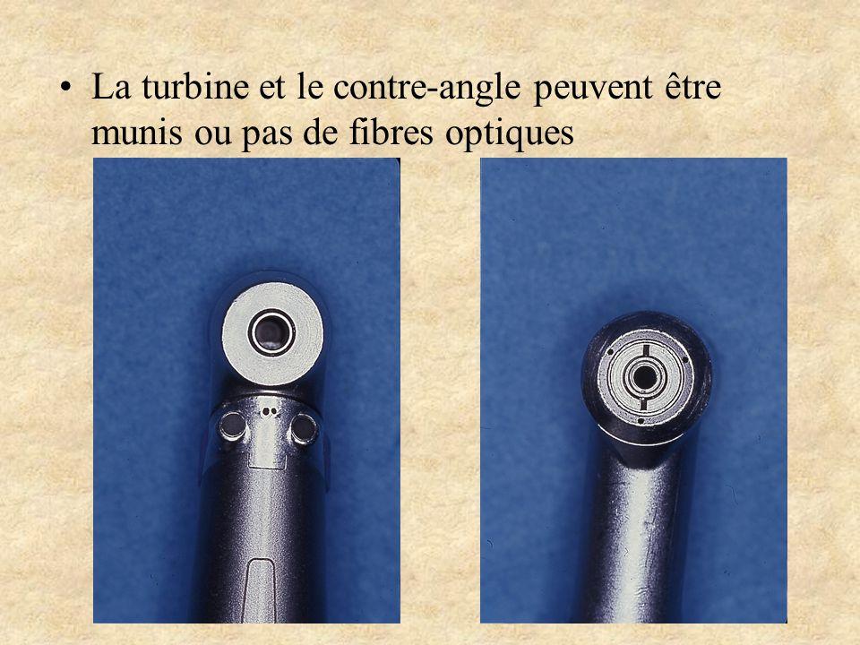 La turbine et le contre-angle peuvent être munis ou pas de fibres optiques