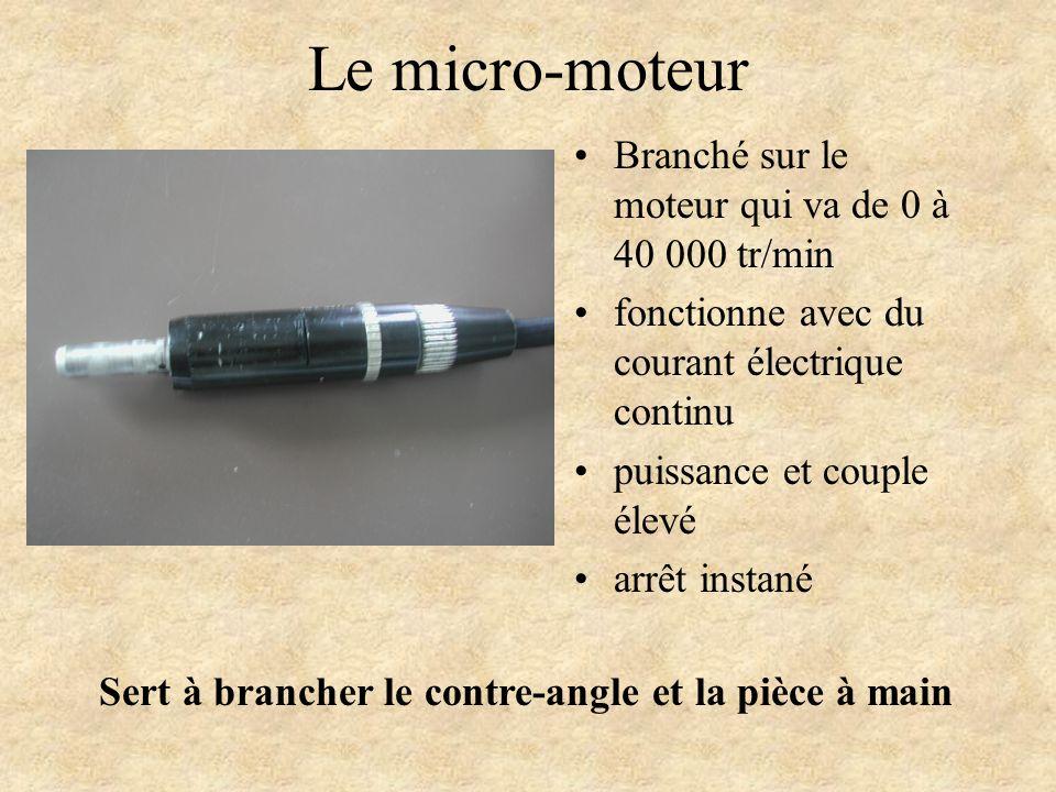 Le micro-moteur Branché sur le moteur qui va de 0 à 40 000 tr/min
