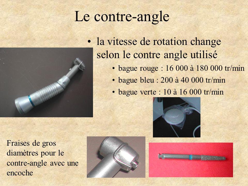 Le contre-angle la vitesse de rotation change selon le contre angle utilisé. bague rouge : 16 000 à 180 000 tr/min.