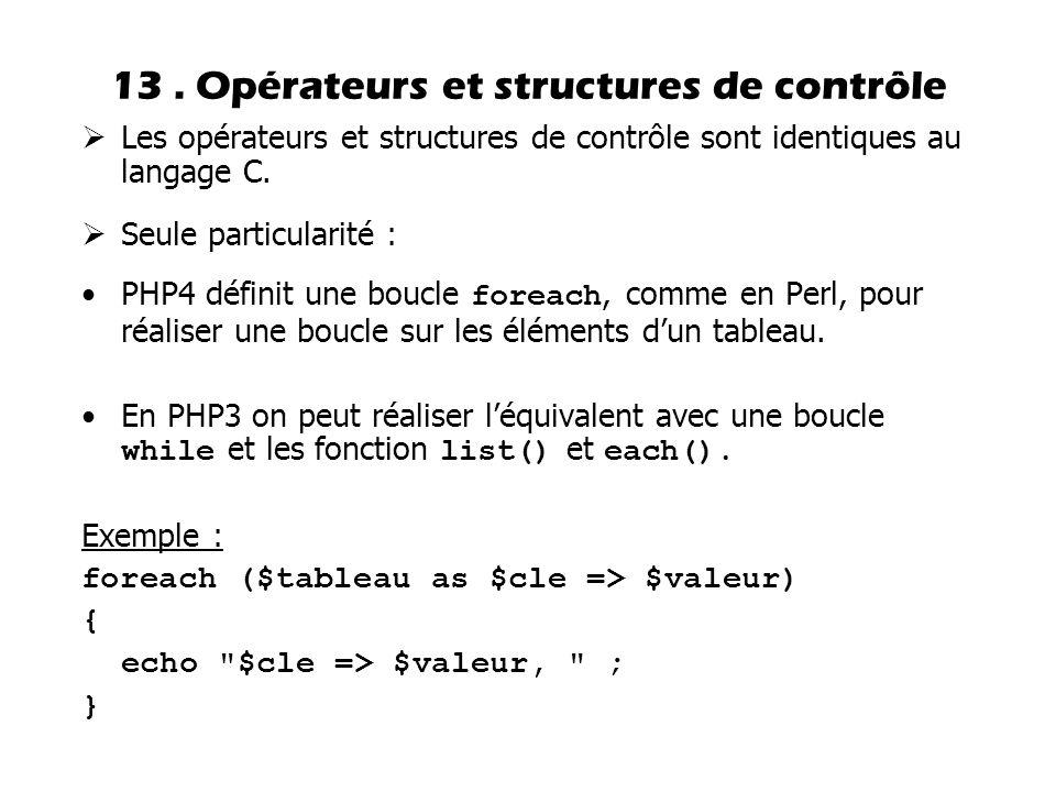 13 . Opérateurs et structures de contrôle