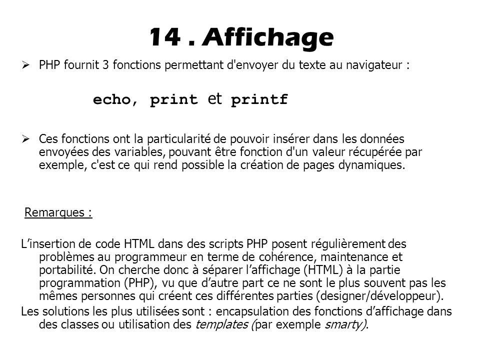 14 . Affichage echo, print et printf