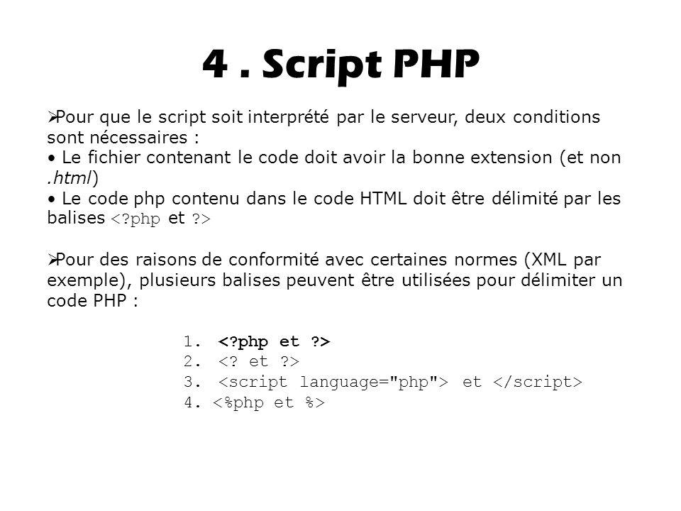 4 . Script PHP Pour que le script soit interprété par le serveur, deux conditions sont nécessaires :