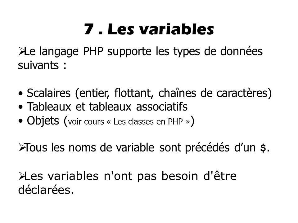 7 . Les variables Le langage PHP supporte les types de données suivants : Scalaires (entier, flottant, chaînes de caractères)