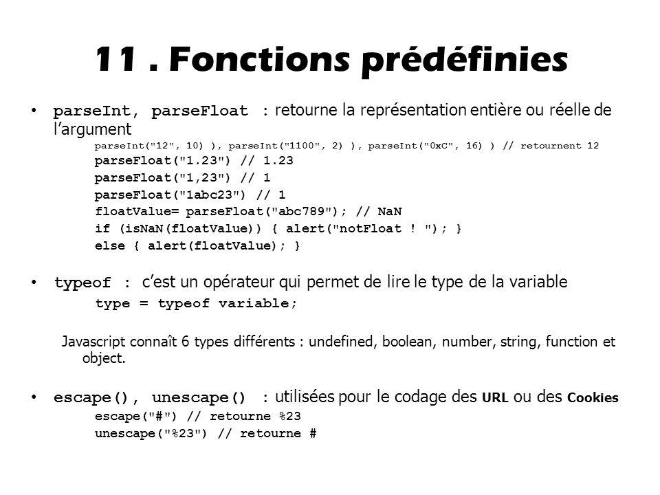11 . Fonctions prédéfinies