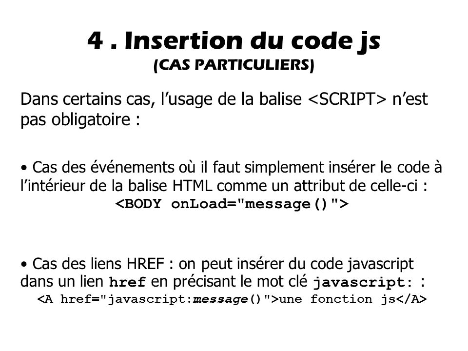 4 . Insertion du code js (CAS PARTICULIERS)