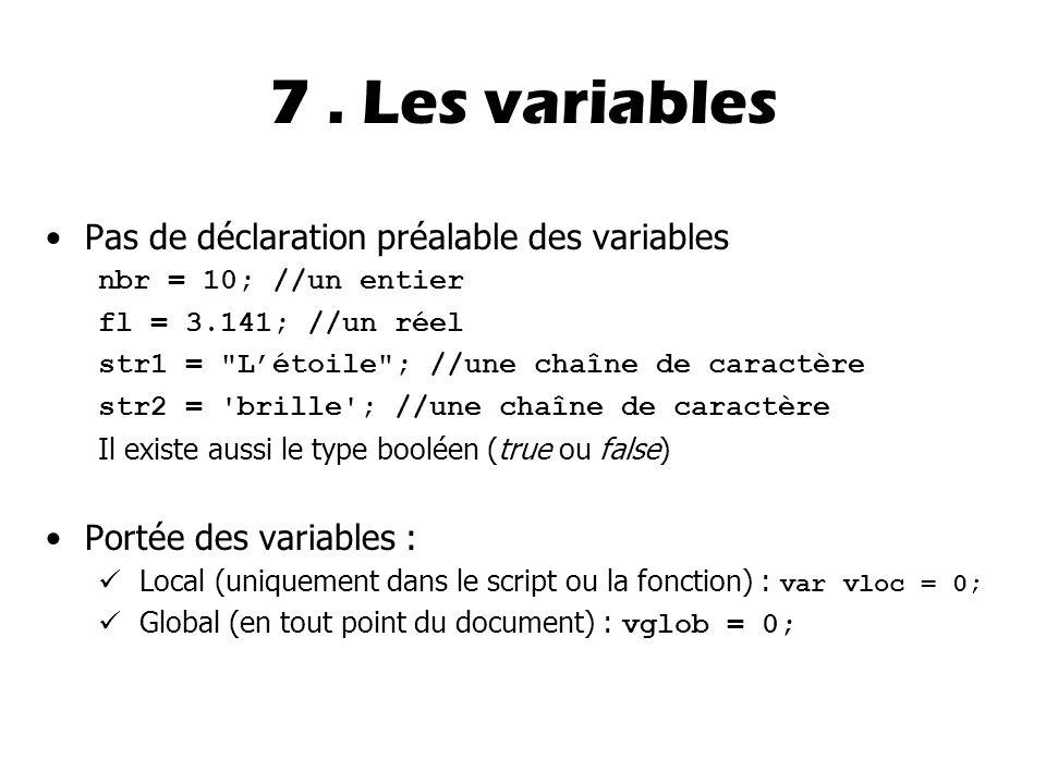 7 . Les variables Pas de déclaration préalable des variables
