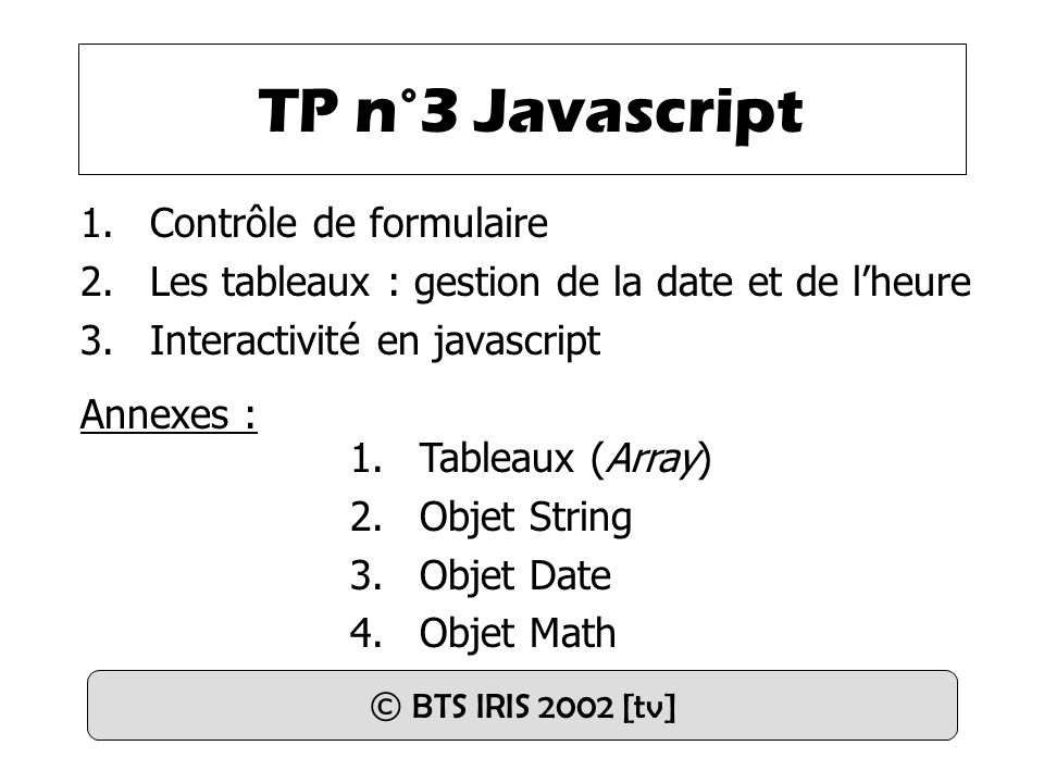 TP n°3 Javascript Contrôle de formulaire