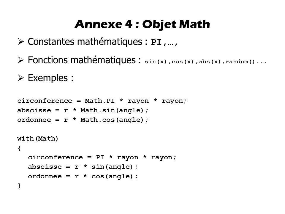 Annexe 4 : Objet Math Constantes mathématiques : PI,…,