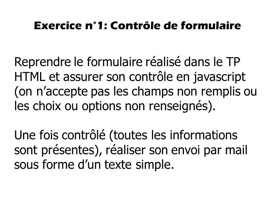 Exercice n°1: Contrôle de formulaire