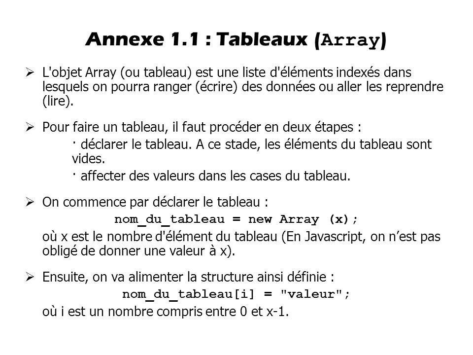 Annexe 1.1 : Tableaux (Array)