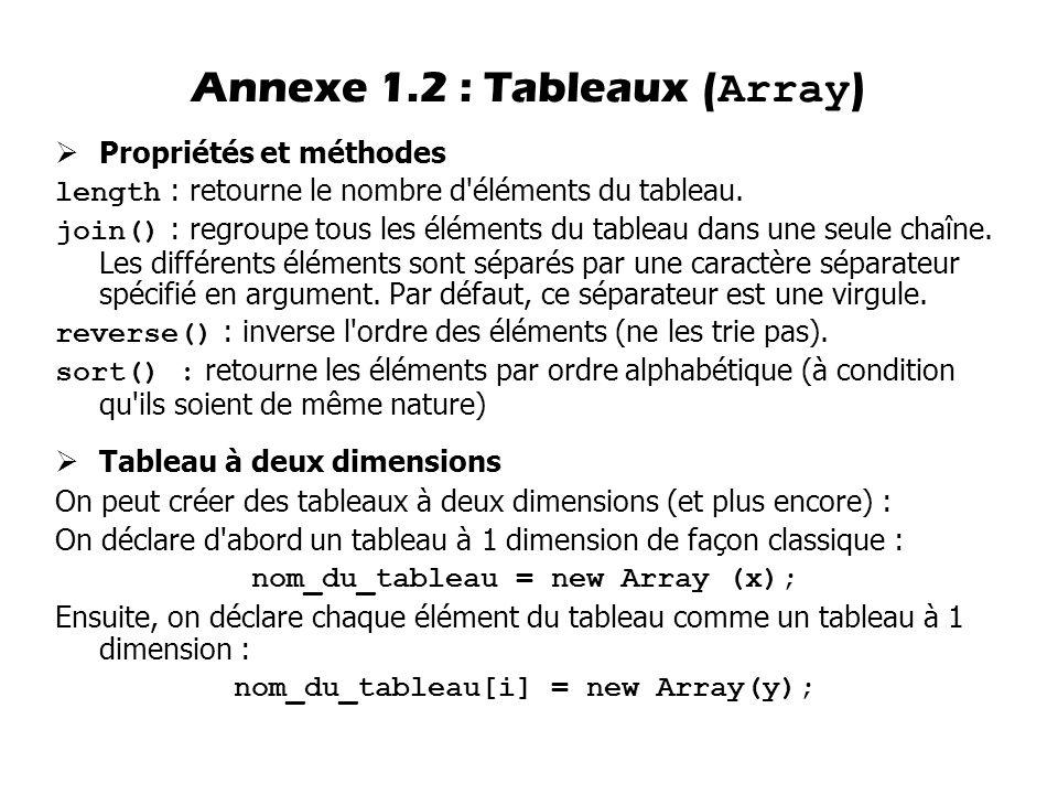 Annexe 1.2 : Tableaux (Array)