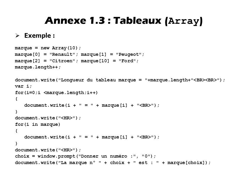 Annexe 1.3 : Tableaux (Array)