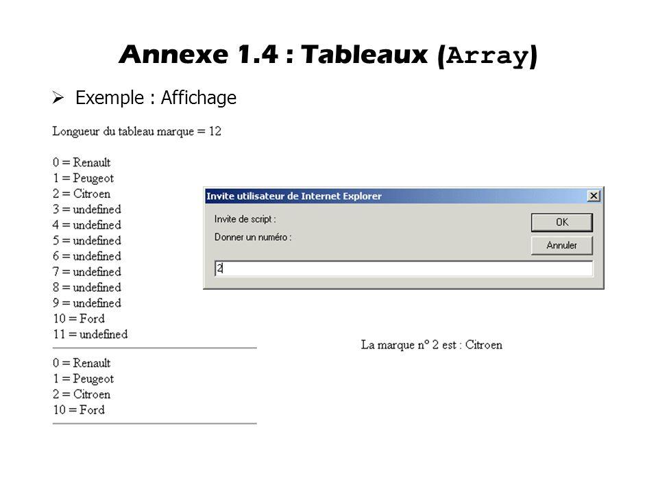 Annexe 1.4 : Tableaux (Array)