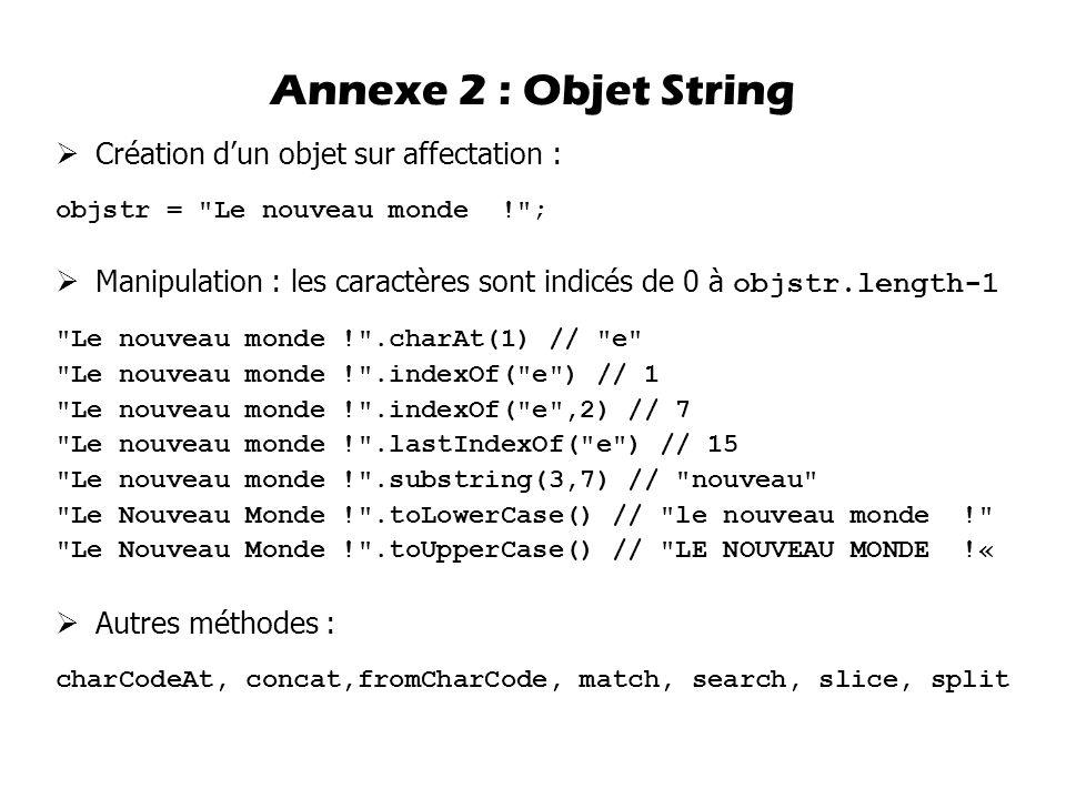 Annexe 2 : Objet String Création d'un objet sur affectation :