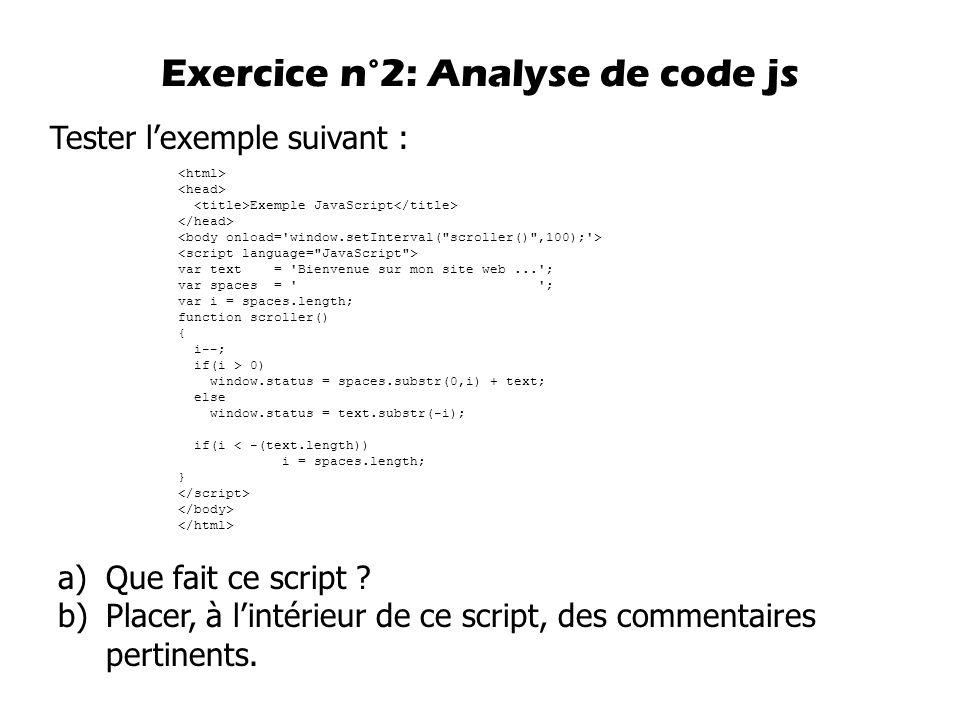 Exercice n°2: Analyse de code js