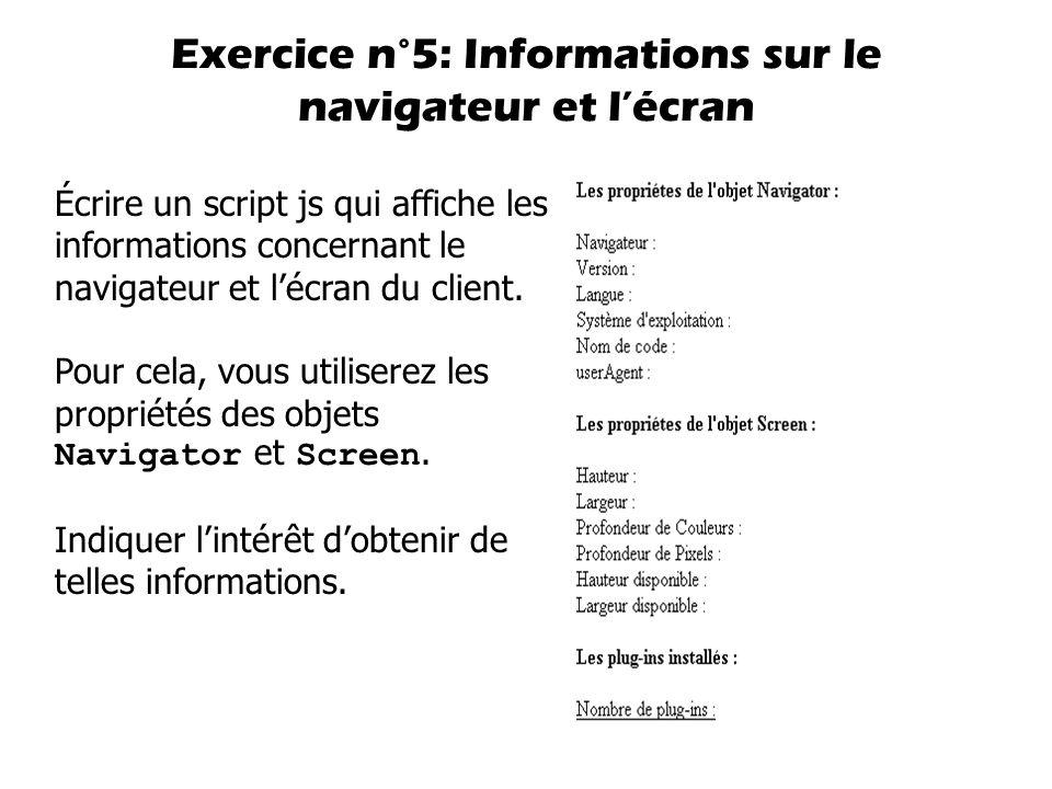 Exercice n°5: Informations sur le navigateur et l'écran