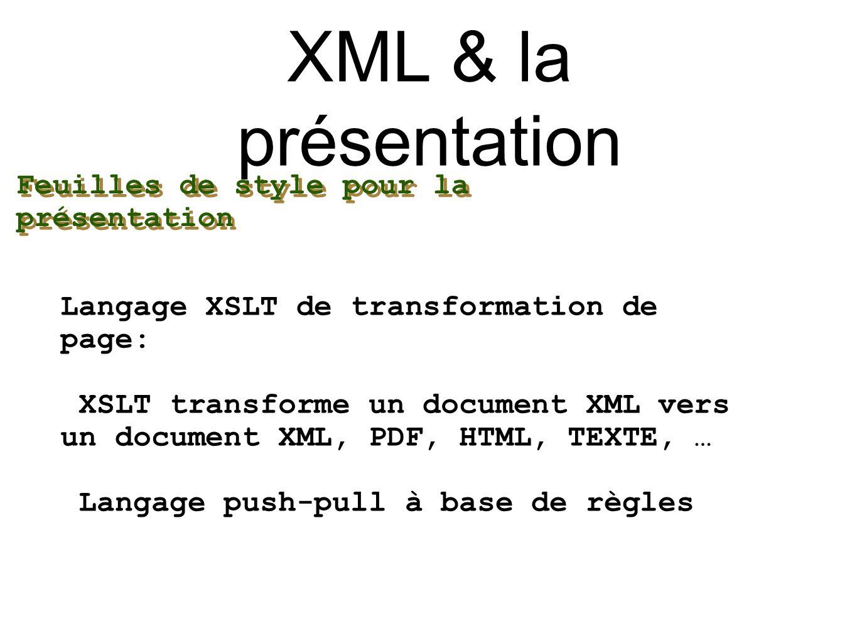 XML & la présentation Feuilles de style pour la présentation
