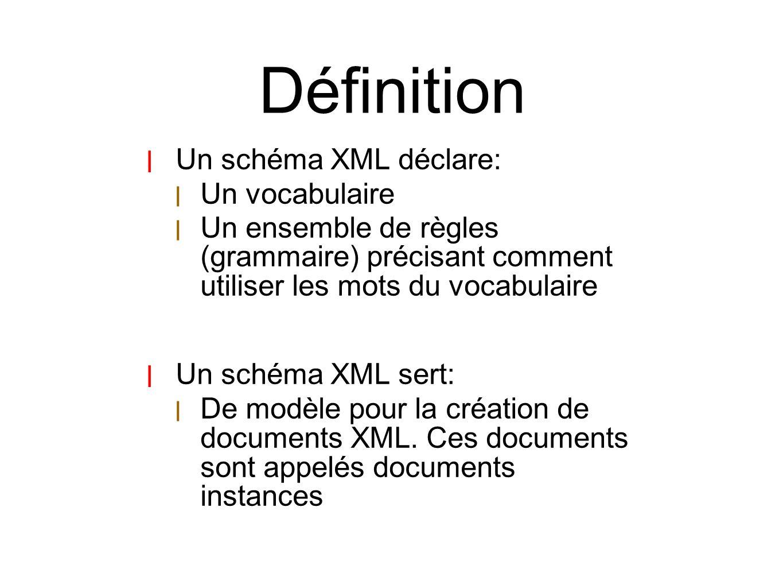 Définition Un schéma XML déclare: Un vocabulaire