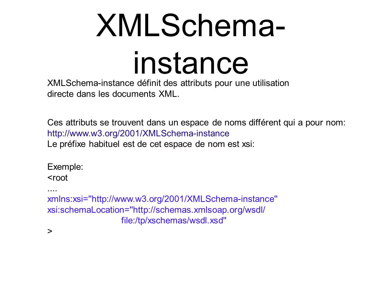 XMLSchema- instance XMLSchema-instance définit des attributs pour une utilisation. directe dans les documents XML.