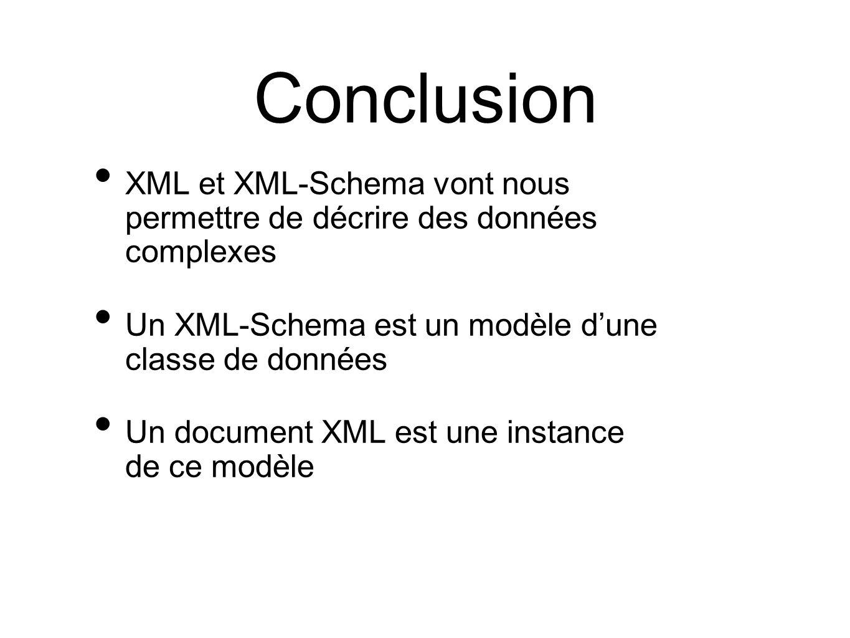 Conclusion XML et XML-Schema vont nous permettre de décrire des données complexes. Un XML-Schema est un modèle d'une classe de données.
