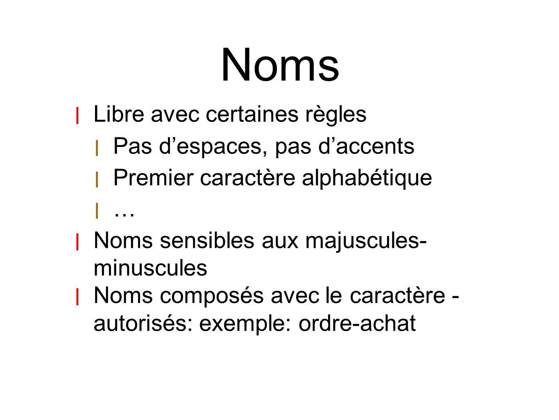 Noms Libre avec certaines règles Pas d'espaces, pas d'accents