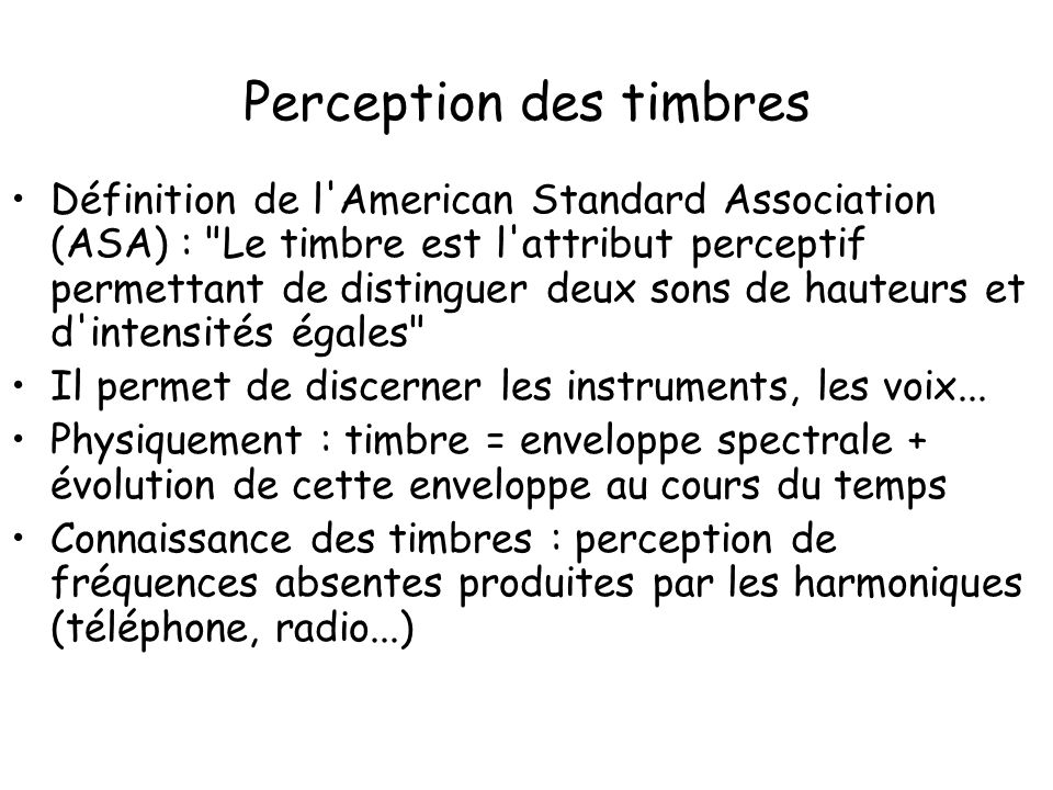 Perception des timbres