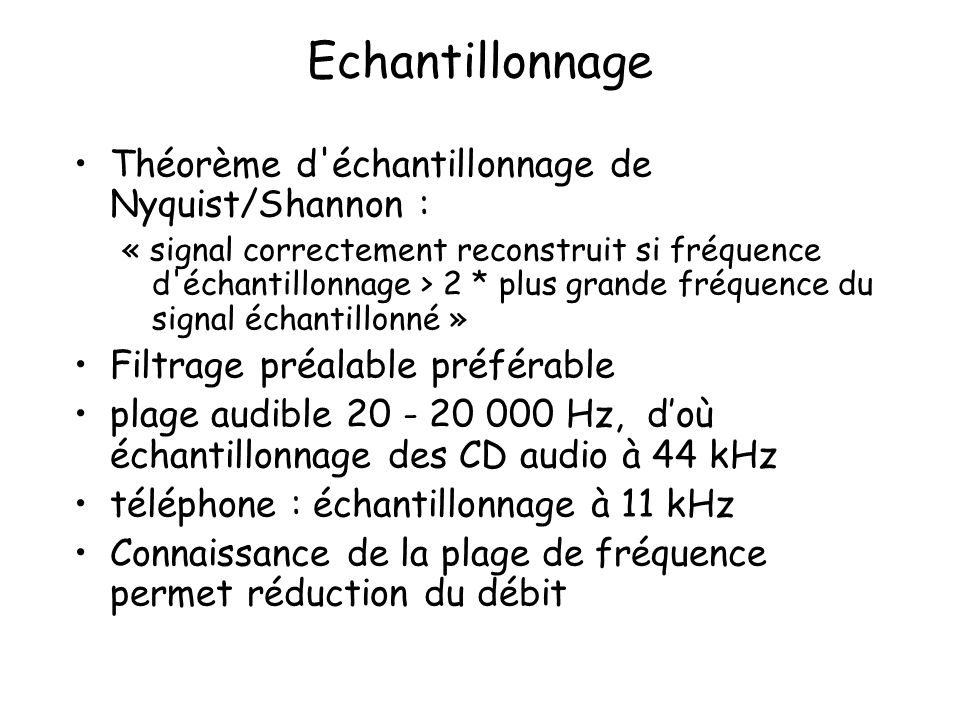Echantillonnage Théorème d échantillonnage de Nyquist/Shannon :