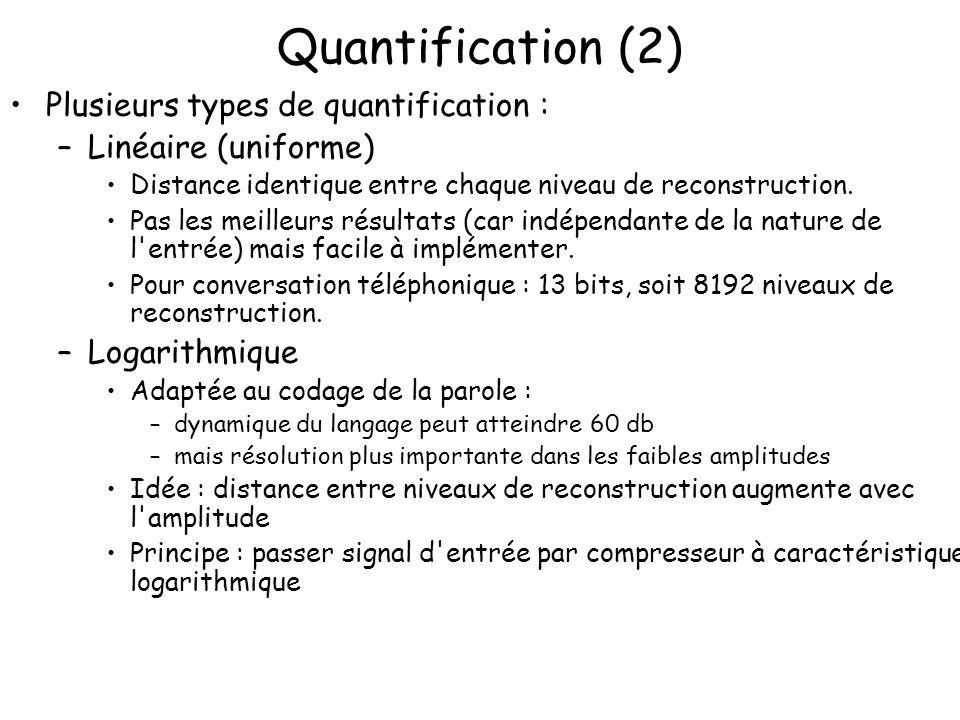 Quantification (2) Plusieurs types de quantification :