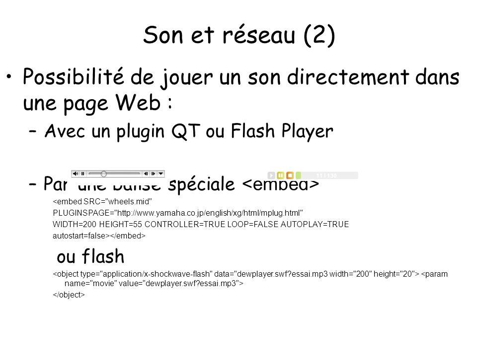 Son et réseau (2) Possibilité de jouer un son directement dans une page Web : Avec un plugin QT ou Flash Player.