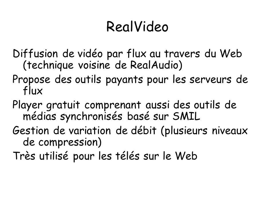 RealVideo Diffusion de vidéo par flux au travers du Web (technique voisine de RealAudio) Propose des outils payants pour les serveurs de flux.