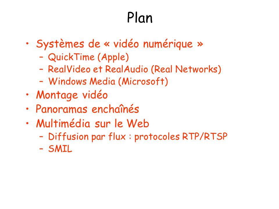 Plan Systèmes de « vidéo numérique » Montage vidéo Panoramas enchaînés