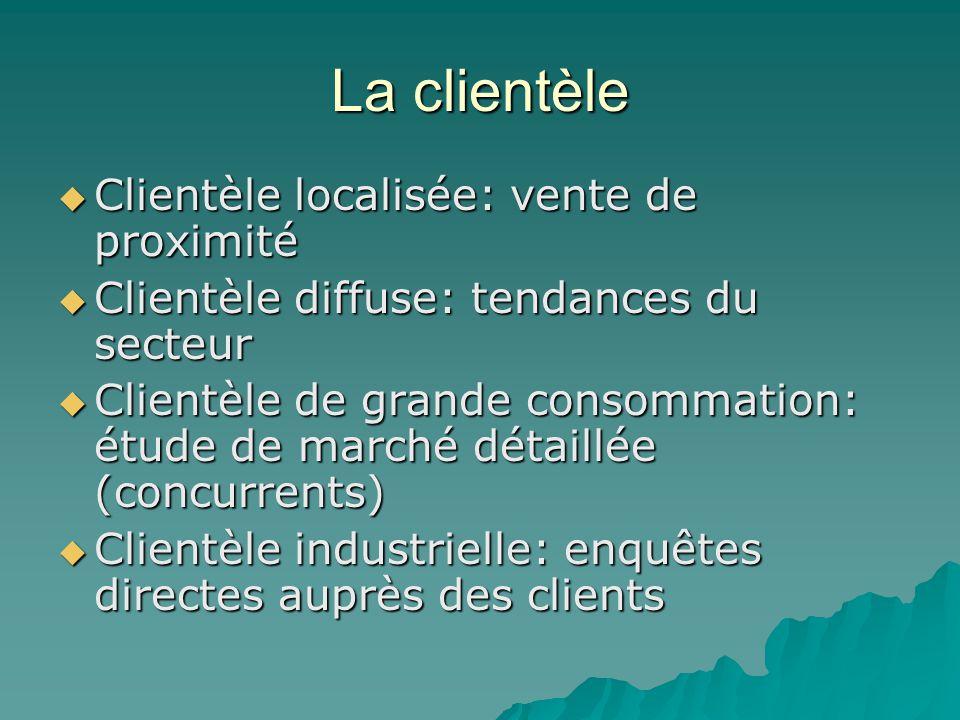 La clientèle Clientèle localisée: vente de proximité