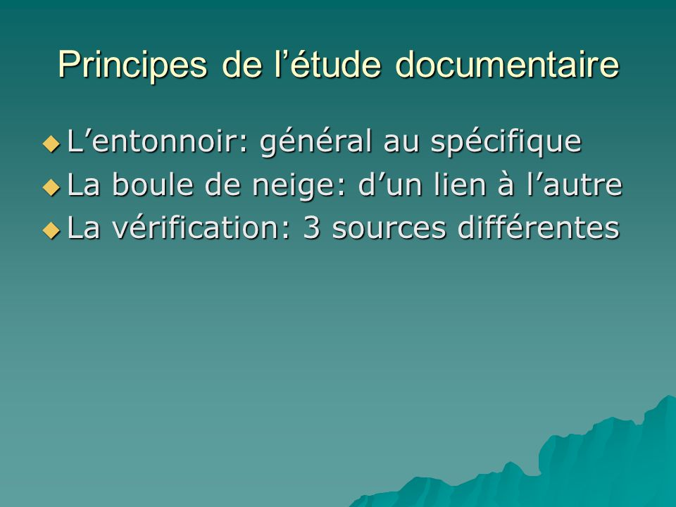 Principes de l'étude documentaire