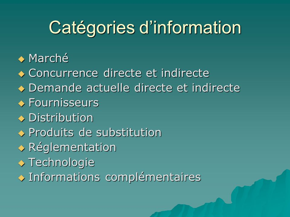 Catégories d'information