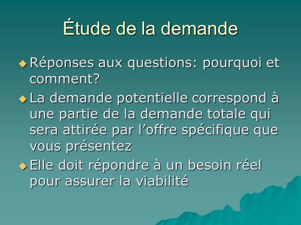 Étude de la demande Réponses aux questions: pourquoi et comment