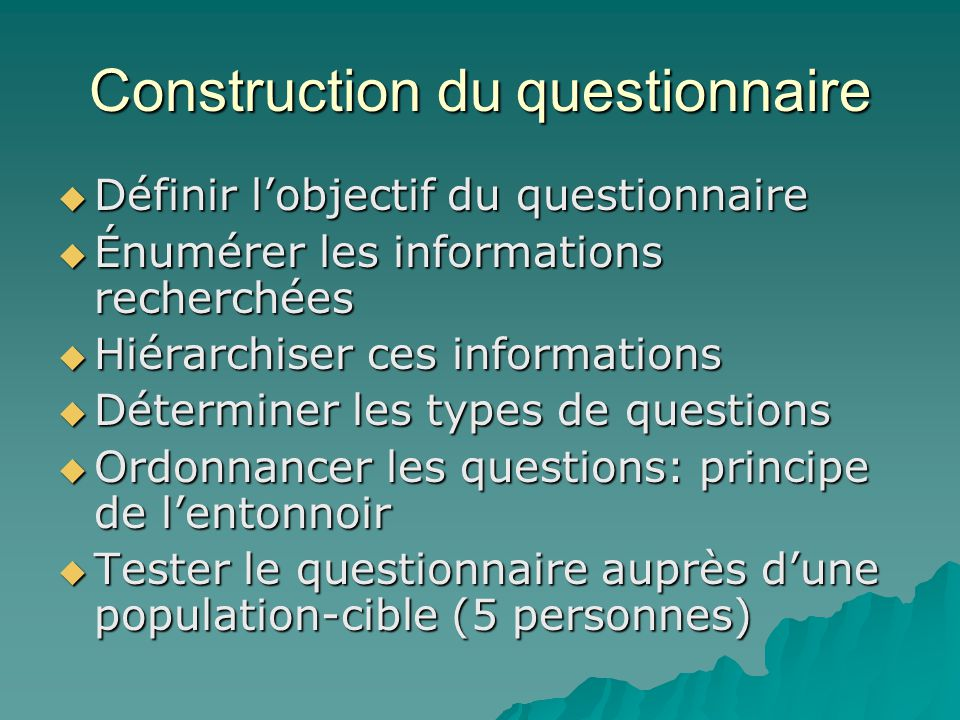 Construction du questionnaire