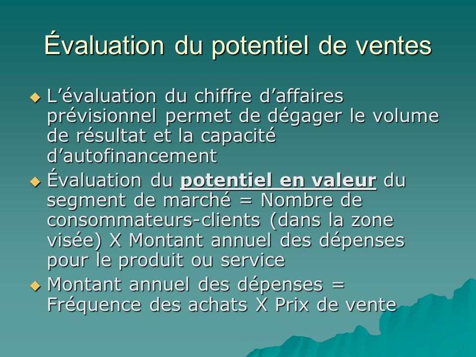Évaluation du potentiel de ventes