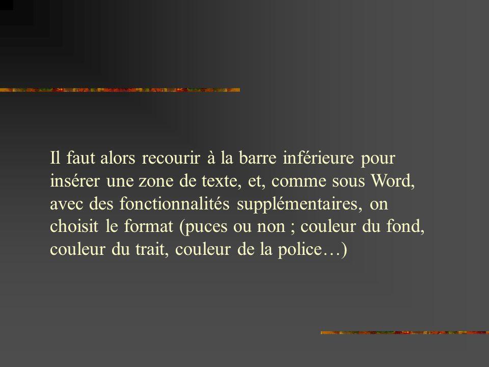 Il faut alors recourir à la barre inférieure pour insérer une zone de texte, et, comme sous Word, avec des fonctionnalités supplémentaires, on choisit le format (puces ou non ; couleur du fond, couleur du trait, couleur de la police…)