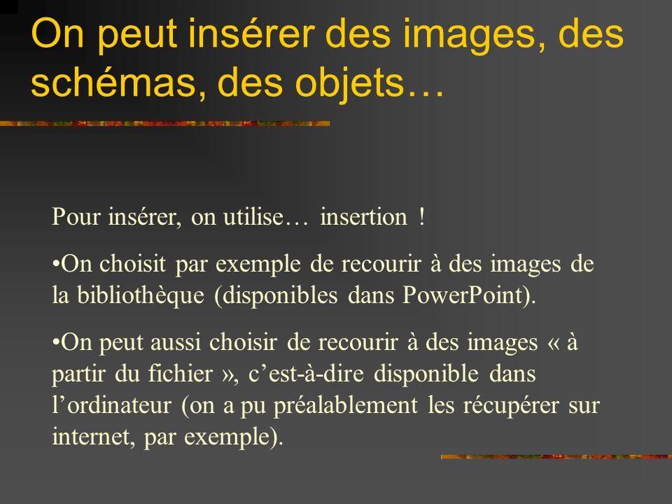 On peut insérer des images, des schémas, des objets…