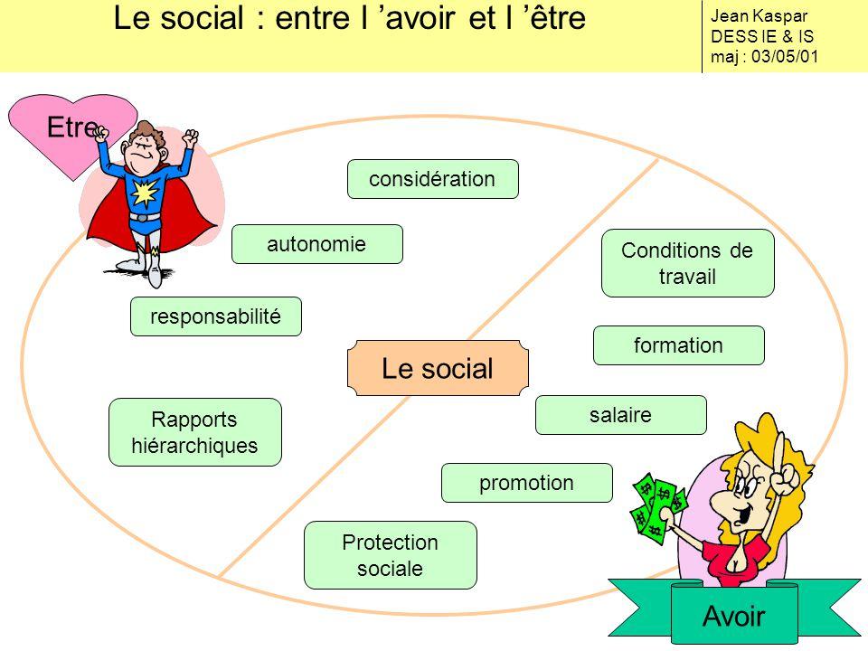 Le social : entre l 'avoir et l 'être