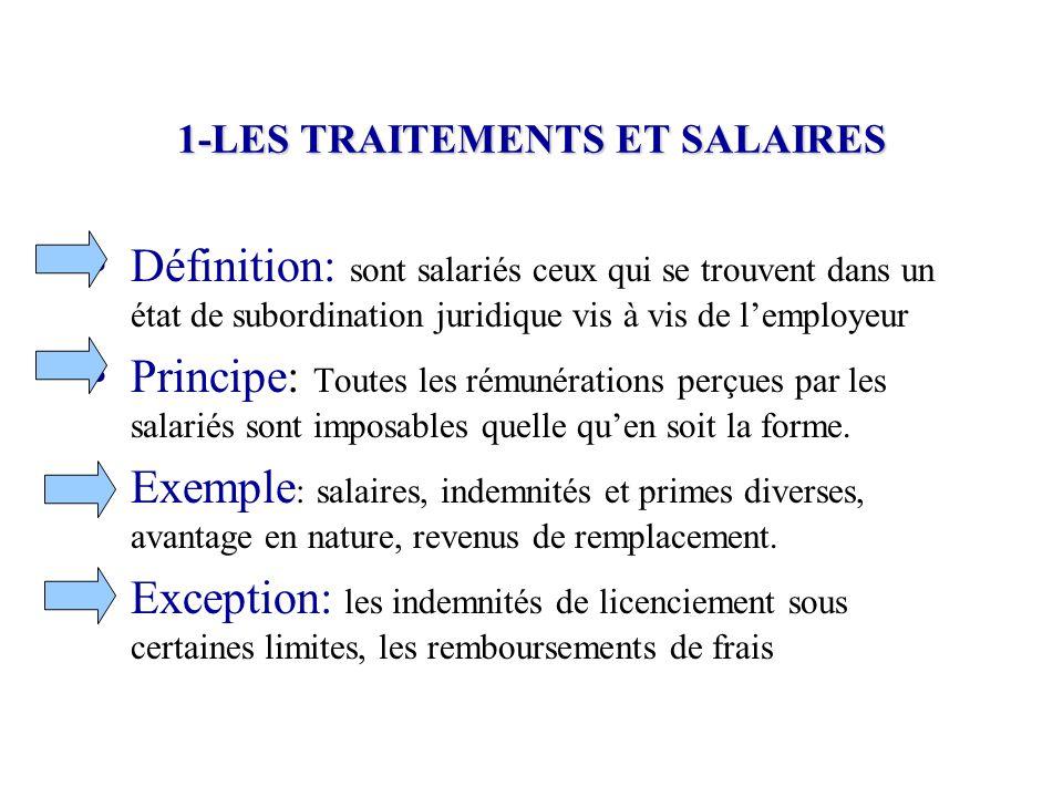 1-LES TRAITEMENTS ET SALAIRES